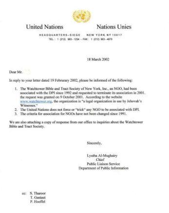 UN Letter - March 2002