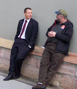 Bob speaking with a Returned Mormon Missionary
